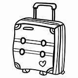 Coloring Suitcase Travelling Adventure sketch template