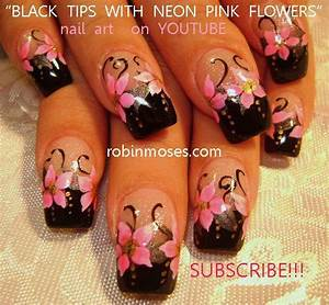 Nail art by Robin Moses hot neon pink and black nails