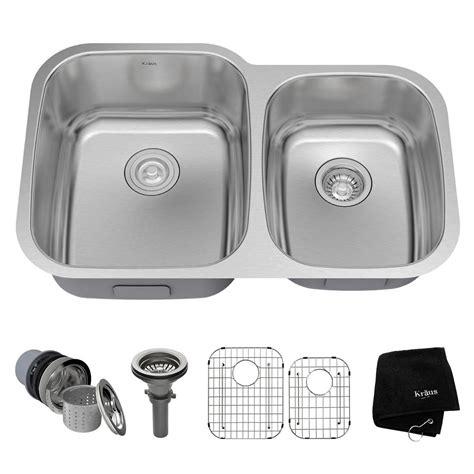 beat kitchen sink kraus undermount stainless steel 32 in bowl 1538