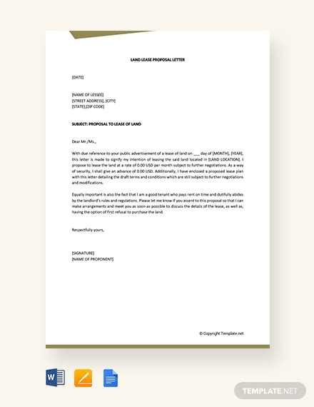 land lease proposal letter template