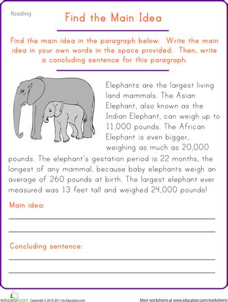 find the main idea elephant worksheets literacy and school
