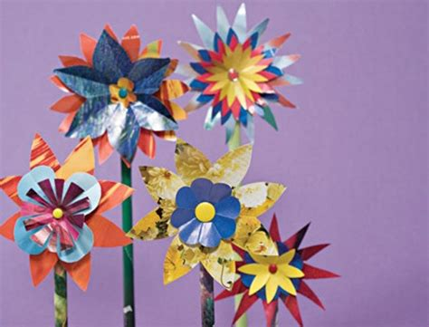 crafts  kids    glossy paper flowers