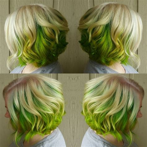Blonde And Lime Green Hair My Hair Creations