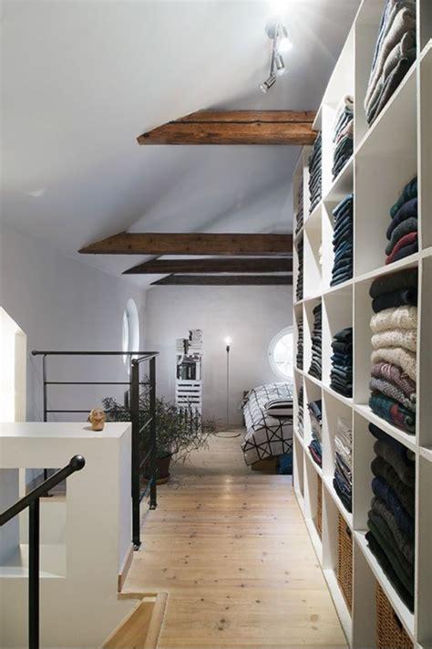 bedroom loft and open closet of decorating