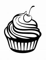 Coloring Pages Cupcakes Cherry Cupcake Birthday Happy Netart sketch template