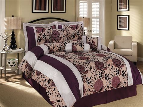 7 pc satin striped flocking cascade floral comforter set
