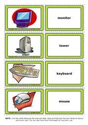computer parts esl printable flashcards  game cards