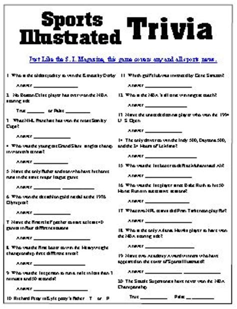 sports illustrated trivia questions from your s i sports
