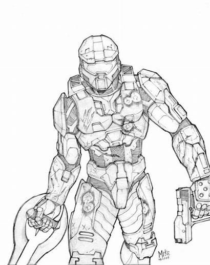 Chief Master Coloring Halo Pencils Drawings Sword