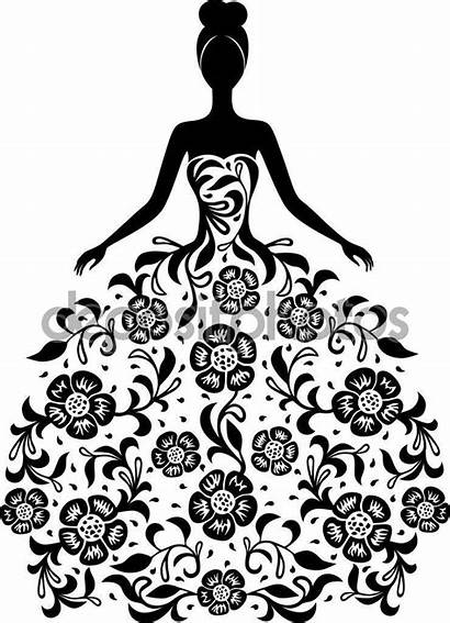 Silhouette Vestido Silueta Floral Ornament Mujer Elegant