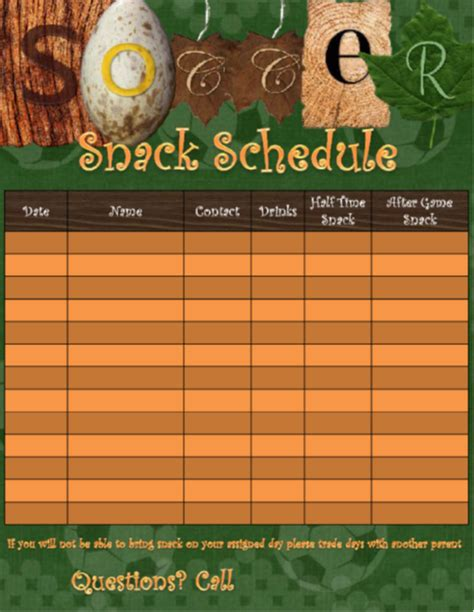 template    soccer snack scheduling