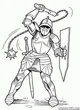 Knight Coloring Mace Knights Pages Soldiers Colorkid Print sketch template