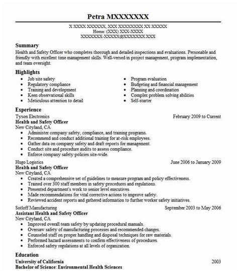 Safety Manager Resume by Health And Safety Officer Resume Sle Resumes Misc
