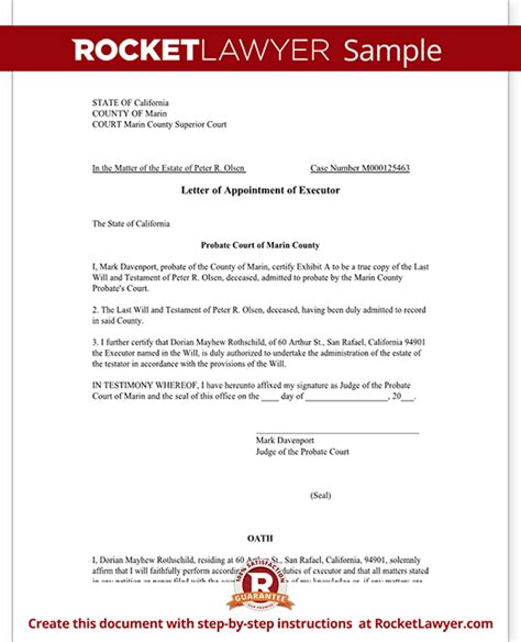 letter of appointment of executor template with sle letter of appointment of executor template with sle 29723