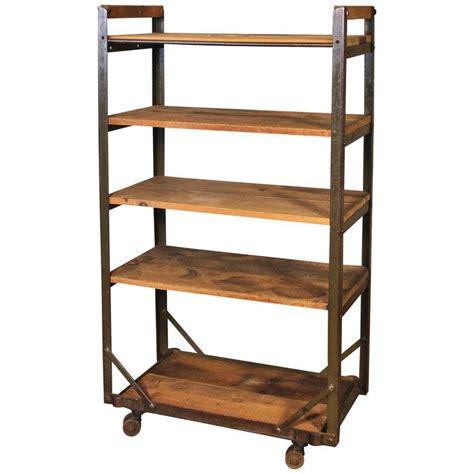 rolling shelf rack rolling shoe cart rustic wood and steel storage rack for
