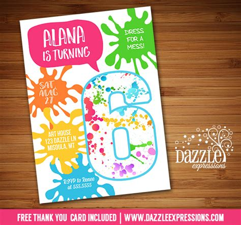 printable paint  art party birthday invitation paint