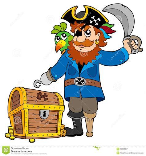 le de chevet pirate pirat mit altem schatzkasten vektor abbildung bild 14243417