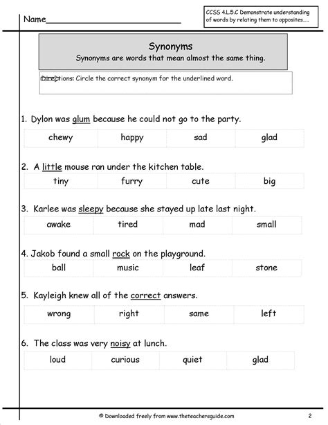 antonyms and synonyms worksheets from the s guide