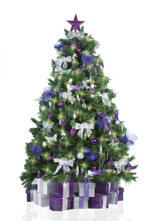 christmas tree  purple silver decorations