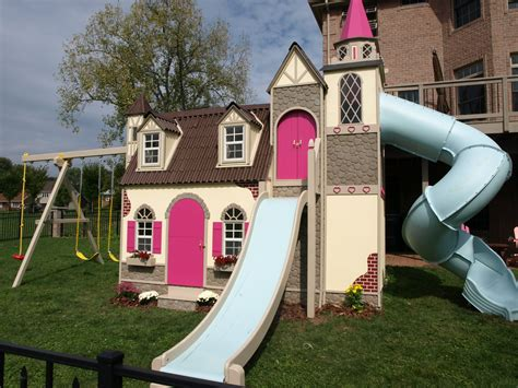 Providing families with high quality wooden toys since 2002. Think Spring....With This Adorable Castle Playhouse! ~ Lilliput Play Homes Custom Children's ...