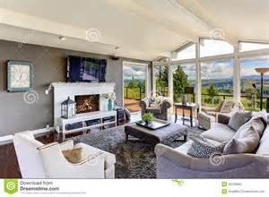 Living Room Layout With Fireplace by Int 233 Rieur De Luxe De Maison Salon Avec La Belle Vue Photo