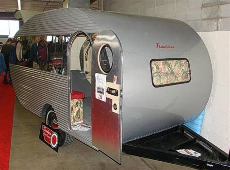 small vintage campers timeless travel trailers restored   toy hauler  bathroom