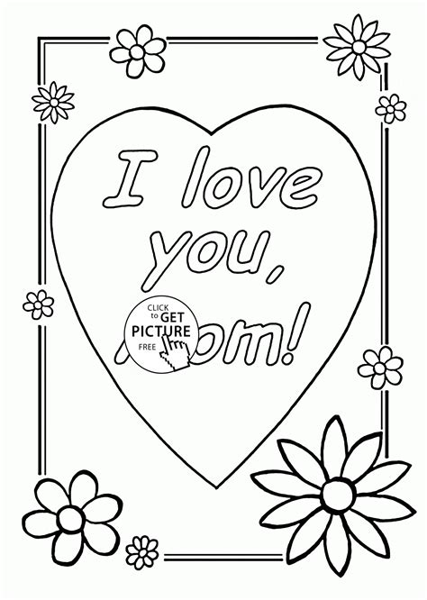 I Love You Mom Mothers Day Coloring Page For Kids