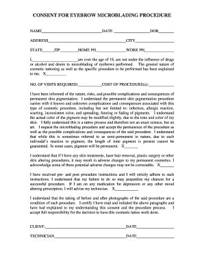 consent form for microblading consent for eyebrow microblading procedure fill online