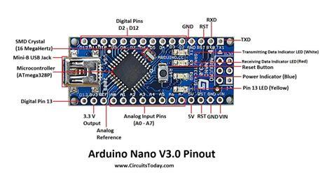 arduino nano pinout schematics complete tutorial