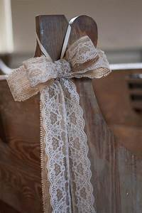 items similar to burlap and lace pew bows 12 bows on etsy With lace decorations for wedding