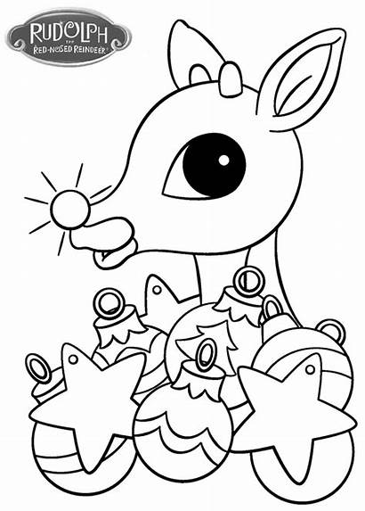 Rudolph Coloring Reindeer Pages Christmas Nosed Ornament