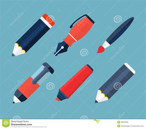 Paint And Writing Tools Flat Icons Stock Vector  Image 38535685