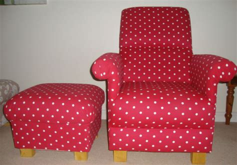 Clarke Red Dotty Spot Fabric Adult Chair & Footstool Polka