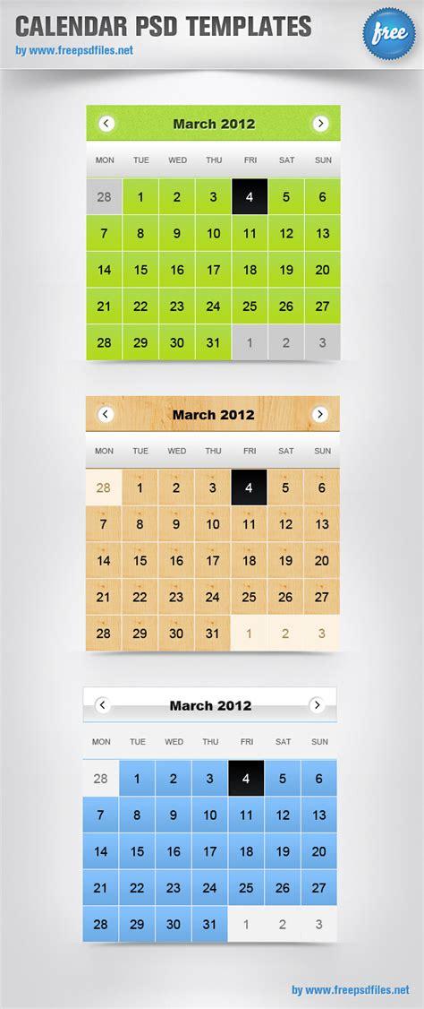 calendar psd templates psd files