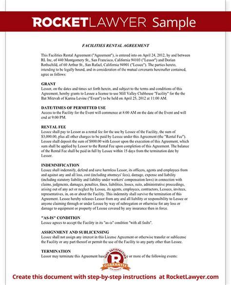 event rental agreement template facilities rental agreement