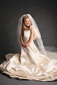dress up photos for little girl in her mother39s wedding dress With little girl wedding dress