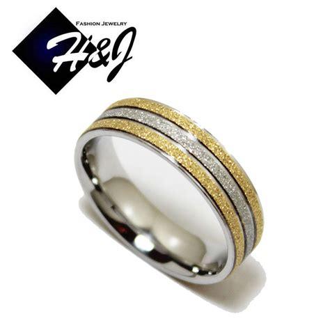 men s women s stainless steel 6mm silver gold matte glitter wedding band ring ebay
