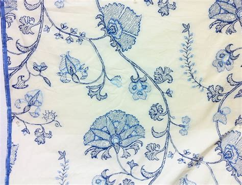 blue and white floor l gorgeous embroidered jacobean floral blue white upholstery