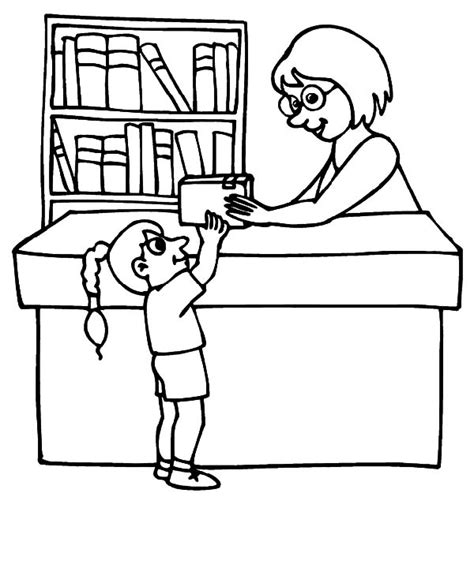 free coloring pages of library books