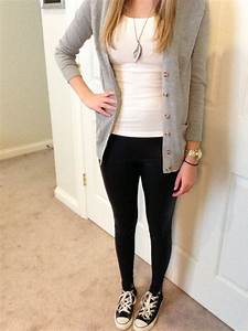 The gallery for --u0026gt; Cute Outfits With Black Leggings And White Converse