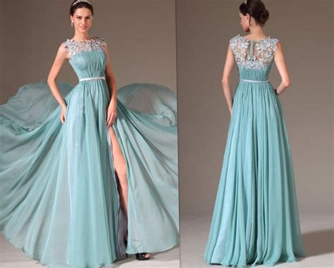 Custom Made Sheer Top Highslit Prom Dress Evening Gown By