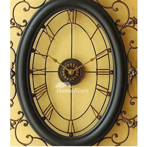 long wall clocks oval wrought iron   large black art