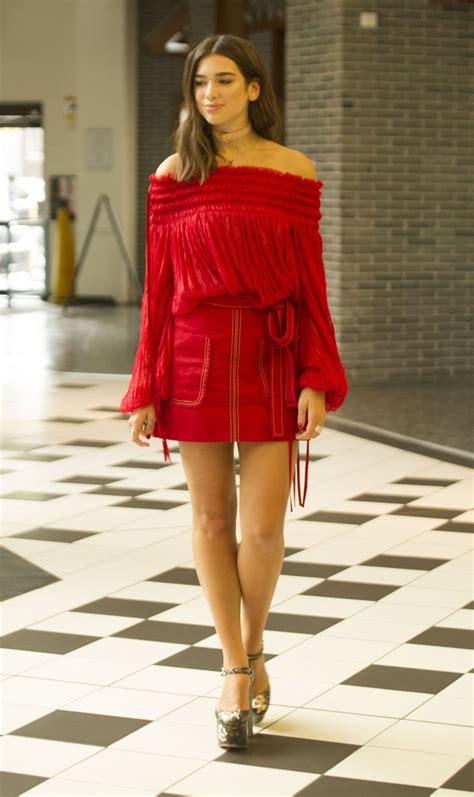 Dua Lipa in Red Mini Dress - London 10/2/2016 • CelebMafia