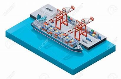 Container Ship Port Vector Illustration Vessel Clipart