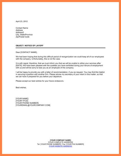 10 employment separation notice notice letter