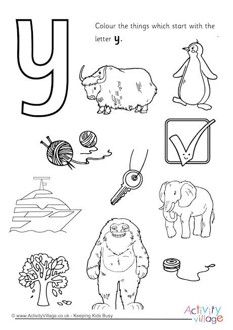 colors that start with y start with the letter y colouring page