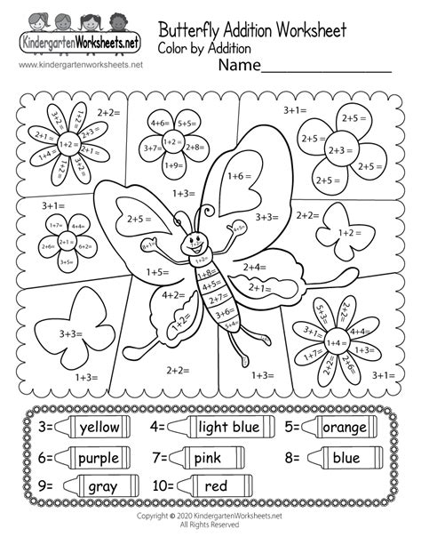 butterfly color  addition worksheet  printable