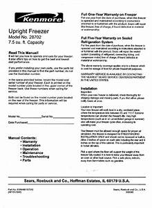 Kenmore Freezer 564 28702700 User Guide