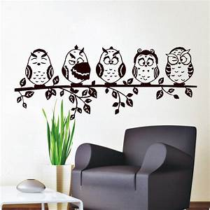 Aliexpress com : Buy Five Coffee Baby Owl Wall Decal PVC