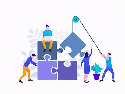 Teamwork Flat Dribbble Team Animated Puzzle Proyecto